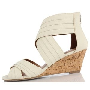 Shoes - Lawson Beige Canvas Pleated Criss Cross Cork Wedge